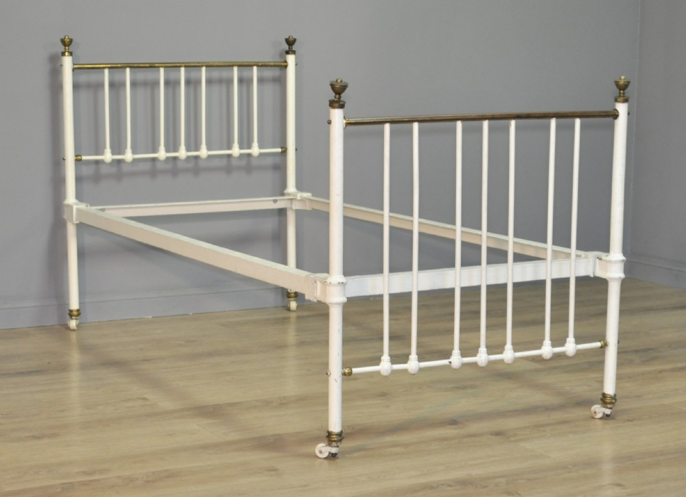 Attractive Antique Victorian Single 36 Cast Iron Brass Bed Frame